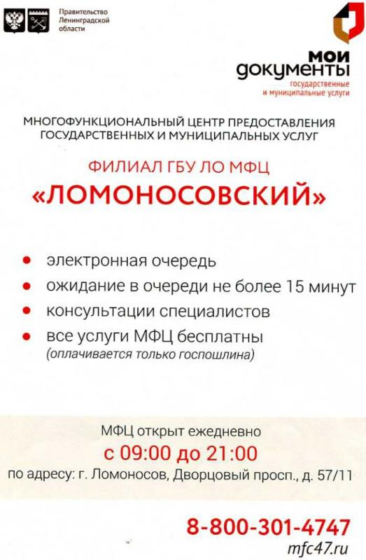 Филиал МФЦ в Ломановосе